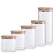 Kit 5 Potes Quadrados Para mantimentos Tampa De Bambu