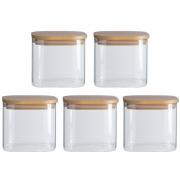 Kit 5 Potes Quadrados Para mantimentos Tampa De Bambu 600ML