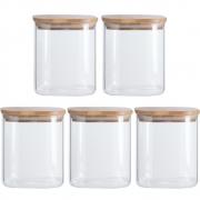Kit 5 Potes Quadrados Para mantimentos Tampa De Bambu 800ML