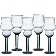 Kit 5 Vasos Taça Castiçal Napoli 25cm De Vidro Decoração