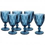 Kit 6 Copos Taça Bico De Jaca Vidro Vinho Água Diamante Azul
