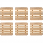 Kit 6 Descansos Para Panelas Quadrado De Bambu Cozinha