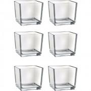 Kit 6 Mini Vaso Castiçal Cachepot Quadrado Vidro 5,2X5,2X4,7