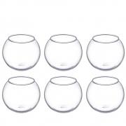 Kit 6 Mini Vasos Castiçal Aquário De Vidro 100ml Decoração