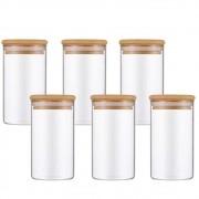 Kit 6 Potes De Vidro Para Mantimentos Com Tampa Bambu 300ML