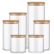 Kit 6 Potes De Vidro Para Mantimentos Com Tampa Bambu