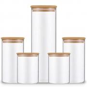 Kit 5 Potes De Vidro Para Mantimentos Com Tampa De Bambu