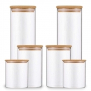 Kit 6 Potes Para Mantimentos De Vidro Com Tampa Bambu