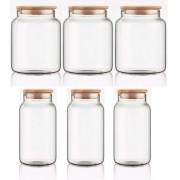 Kit 6 Potes Porta Condimentos Tampa De Bambu 250ml E 500ml