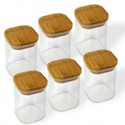 Kit 6 Potes Quadrados Para mantimentos Tampa De Bambu 200ML