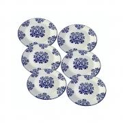 Kit 6 Pratos Em Cerâmica  Decorativo Para Lanche 18Cm