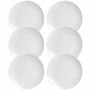Kit 6 Pratos Raso De Luxo Em Cerâmica Decorativo Branco