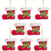 Kit 8 Botas Decorativas Enfeite Decoração De Natal Árvore