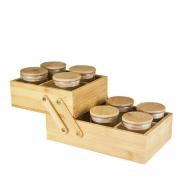 Kit 8 Potes Com Tampa De Bambu E Caixa Organizadora 6Div