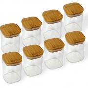 Kit 8 Potes Quadrados Para mantimentos Tampa De Bambu 200ML