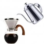 Kit Barista Profissional Bule Inox E Passador Para Café