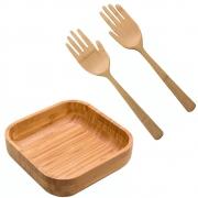 Kit Bowl Quadrado Com Pegador De Saladas Mãozinha Em Bambu