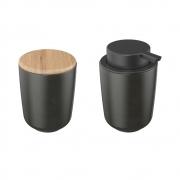 Kit Dispenser E Porta Algodão Em Cerâmica Preto