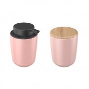 Kit Dispenser E Porta Algodão Em Cerâmica Rosa