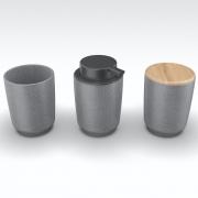 Kit Dispenser Porta Escova E Porta Algodão Em Cerâmica Cinza