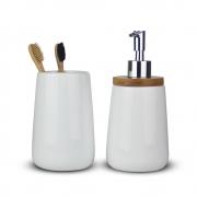 Kit Para Banheiro De Cerâmica Porta Escova E Saboneteira