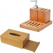 Kit Para Banheiro Em Bambu Porta Escovas Sabonete E Lenço