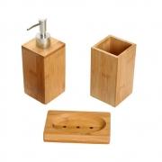 Kit Porta Escovas E Porta Sabonete De Bambu Banheiro