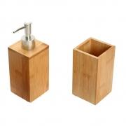 Kit Porta Escovas E Porta Sabonete Liquido De Bambu Banheiro