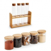 Kit Potes Para Tempero Com Tampa De Bambu E Cortiça 9 Potes