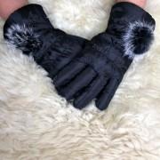 Luva De Inverno Feminina Com Touch Acolchoada Preta Pom Pom