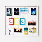 Mural De Fotos Memory Board Aramado Com Moldura 43x43Cm