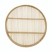 Nicho Em Bambu Decorativo Redondo Com 2 Prateleiras 61cm