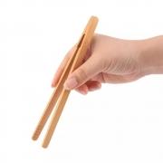 Pinça Pegador De Fritura Alimentos Salada Multiuso Em Bambu