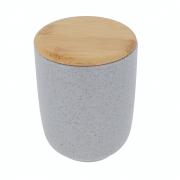 Porta Algodão De Cerâmica Cinza Banheiro Com Tampa De Bambu