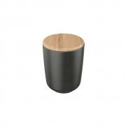 Porta Algodão De Cerâmica Para Banheiro Com Tampa De Bambu