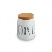 Porta Condimento Hermético Branco Cookies Tampa Cortiça 850ml