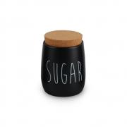 Porta Condimento Hermético Preto Sugar Tampa Cortiça 850ml