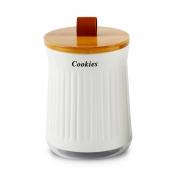 Porta Condimento Tampa Bambu Com Alça Couro Cookies 1350ml