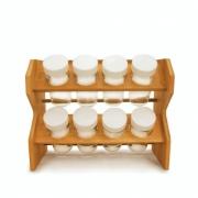 Porta Temperos Condimentos Bambu 8 Potes Com Suporte Cozinha