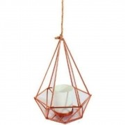 Porta Vela Vaso Com Corda De Metal Rose Gold Diamante