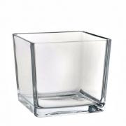 Mini Vaso Castiçal De Vidro Cachepot Quadrado 6x6cm