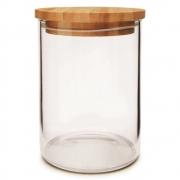 Pote De Vidro Com Tampa De Bambu Para Mantimentos 700ML