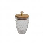 Pote de Vidro Decorativo Porta Mantimentos Com Tampa Bambu