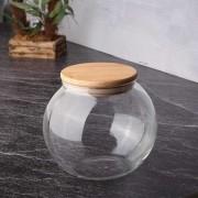 Pote Hermético Baleiro De Vidro Com Tampa De Bambu 450Ml