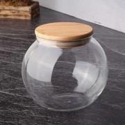 Pote Hermético Baleiro De Vidro Com Tampa De Bambu 800Ml