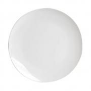 Prato Raso De Luxo Em Cerâmica Decorativo Branco