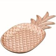 Prato Travessa Abacaxi Rose Gold em Cerâmica 30 x 15