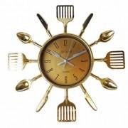 Relógio De Parede Talheres De Cozinha Garfo E Colher Dourado