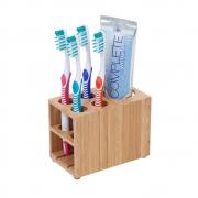 Suporte Para Banheiro Porta Escova E Pasta De Dentes Bambu