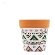 Vasinho Decorativo De Cerâmica Estampa Étnica Geométrica N3